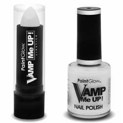 Zombie schmink set mat witte lippenstift nagellak