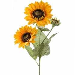 Zonnebloem kunstbloem tak 62 3 bloemen geel