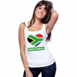 Zuid afrika hart vlag singlet shirt/ tanktop wit dames