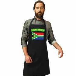 Zuid afrika vlag barbecueschort/ keukenschort zwart volwassenen