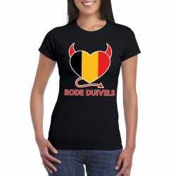 Zwart belgie rode duivels hart shirt dames