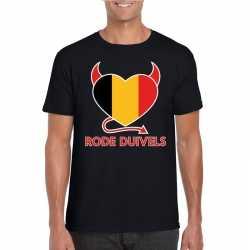 Zwart belgie rode duivels hart shirt heren