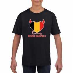 Zwart belgie rode duivels hart shirt kinderen