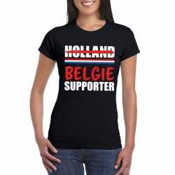 Zwart belgie shirt teleurgestelde holland supporters dames