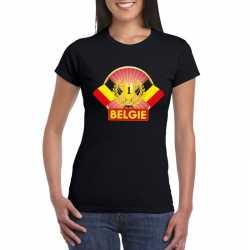 Zwart belgie supporter kampioen shirt dames