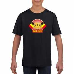 Zwart belgie supporter kampioen shirt kinderen
