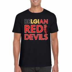 Zwart belgium red devils supporter shirt heren