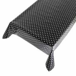Zwart buiten tafelkleed/tafelzeil polkadot 140 bij 170