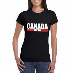 Zwart canada supporter t shirt dames