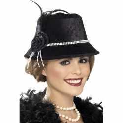 Zwart dames hoedje parels bloem