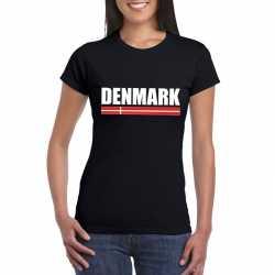 Zwart denemarken supporter t shirt dames
