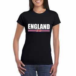 Zwart engeland supporter t shirt dames