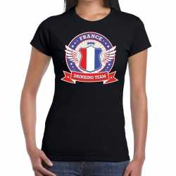 Zwart france drinking team t shirt dames