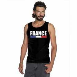 Zwart frankrijk supporter singlet shirt/ tanktop heren