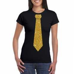 Zwart fun t shirt stropdas in glitter goud dames