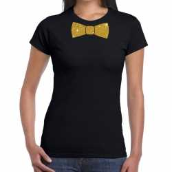 Zwart fun t shirt vlinderdas in glitter goud dames