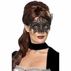 Zwart geborduurd kanten oogmasker dames