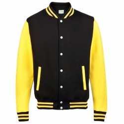 Zwart geel college jacket heren