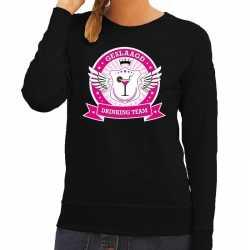 Zwart geslaagd drinking team sweater dames