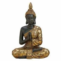 Zwart/goud boeddha beeldje biddend 20