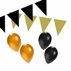Zwart/gouden feest versiering pakket small