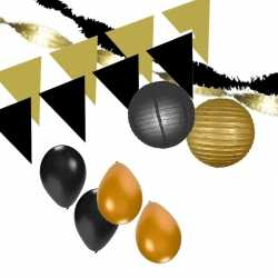 Zwart/gouden feest versiering pakket xxl