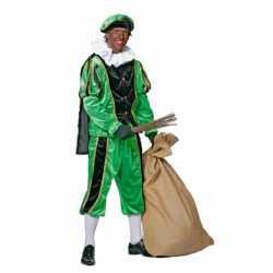 Zwart/groene pieten kostuum fluweel