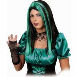 Zwart groene pruik lang haar