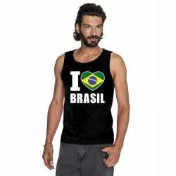Zwart i love brazilie fan singlet shirt/ tanktop heren