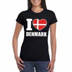 Zwart i love denemarken fan shirt dames