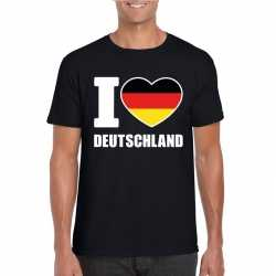 Zwart i love duitsland fan shirt heren