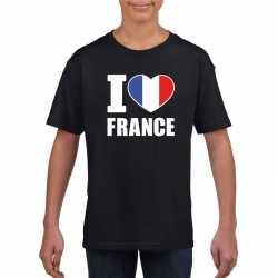 Zwart i love frankrijk fan shirt kinderen