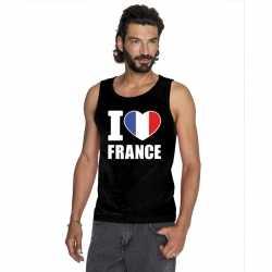 Zwart i love frankrijk fan singlet shirt/ tanktop heren