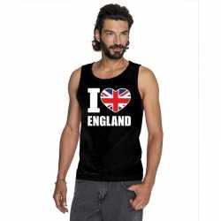 Zwart i love groot brittannie fan singlet shirt/ tanktop heren