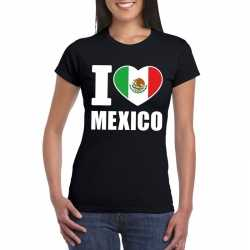 Zwart i love mexico fan shirt dames