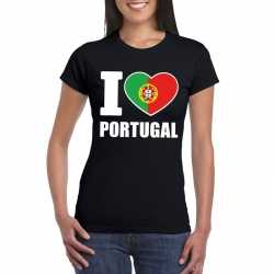 Zwart i love portugal fan shirt dames