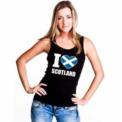 Zwart i love schotland fan singlet shirt/ tanktop dames