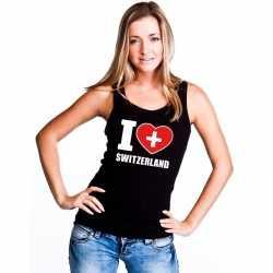 Zwart i love zwitserland fan singlet shirt/ tanktop dames