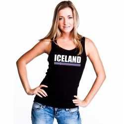 Zwart ijsland supporter singlet shirt/ tanktop dames