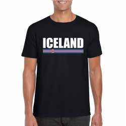 Zwart ijsland supporter t shirt heren