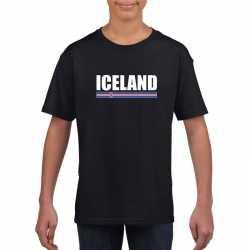 Zwart ijsland supporter t shirt kinderen