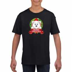 Zwart kerst t shirt kinderen een ijsbeer