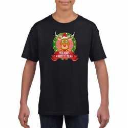 Zwart kerst t shirt kinderen een rendier