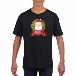 Zwart kerst t shirt kinderen kerstman print