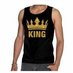 Zwart king gouden glitter kroon tanktop heren