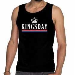 Zwart kingsday vlag kroon tanktop / mouwloos shirt voor