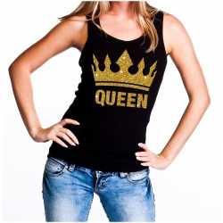 Zwart koningsdag queen tanktop gouden glitters dames