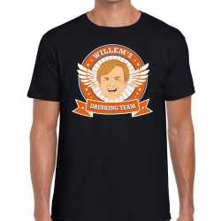 Zwart koningsdag willem drinking team t shirt heren