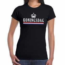 Zwart koningsdagmet hollandse vlag kroontje t shirt dame