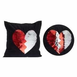Zwart kussen rood/witte omkeerbare pailletten 40 bij 40